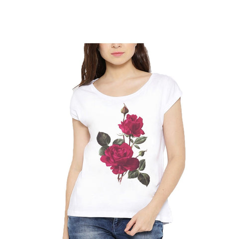 White Color Cotton Womens Tshirt - lady-white-183