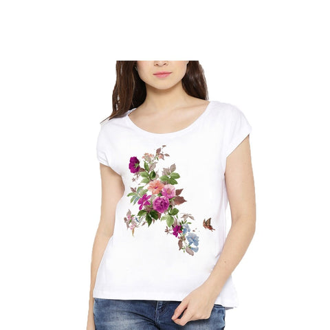 White Color Cotton Womens Tshirt - lady-white-184