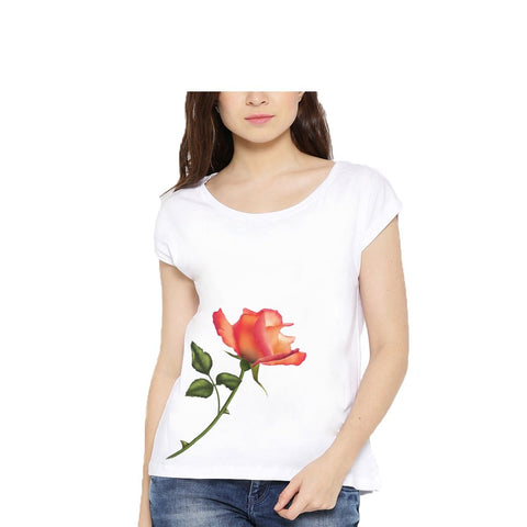 White Color Cotton Womens Tshirt - lady-white-185