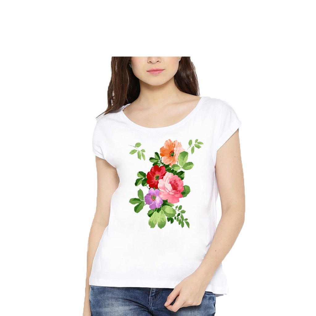 Buy White Color Cotton Womens Tshirt