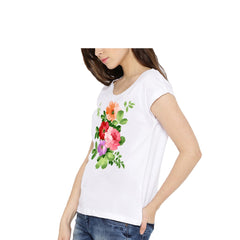 White Color Cotton Womens Tshirt - lady-white-186