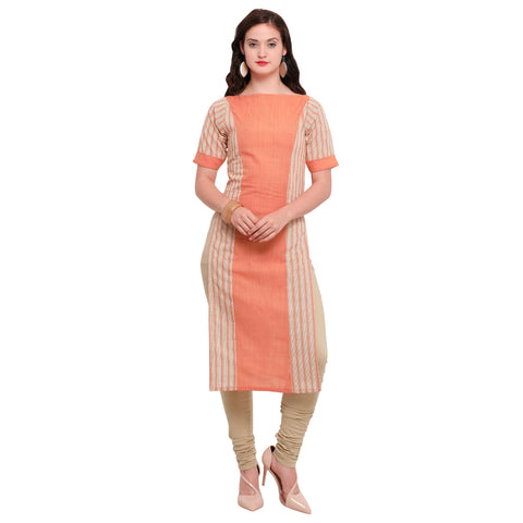 Orange Color Full Stitched Khadi Cotton Kurti - lax9021