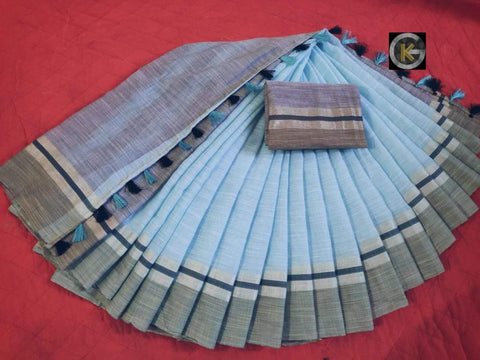Sky Blue Color Linen Silk Saree - linen-Sky