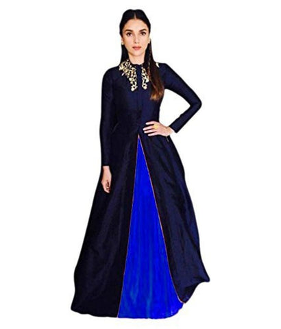 RoyalBlue Color Satin SemiStitched Gown - lirir Rayol blue