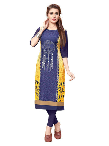 Multi Color Crepe Stitched Kurti  - live-14