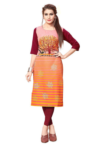 Multi Color Crepe Stitched Kurti  - live-19