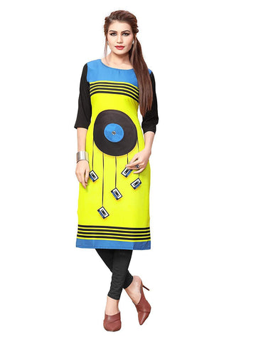 Multi Color Crepe Stitched Kurti  - live-22