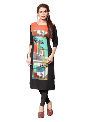 Multi Color Crepe Stitched Kurti  - live-39