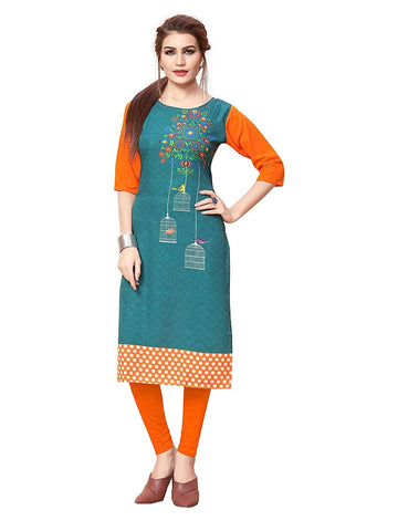 Multi Color Crepe Stitched Kurti  - live-3