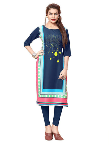 Multi Color Crepe Stitched Kurti  - live-5
