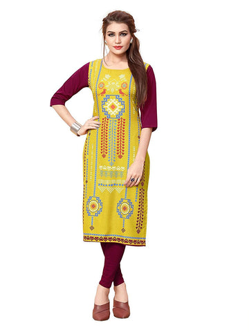 Multi Color Crepe Stitched Kurti  - live-7