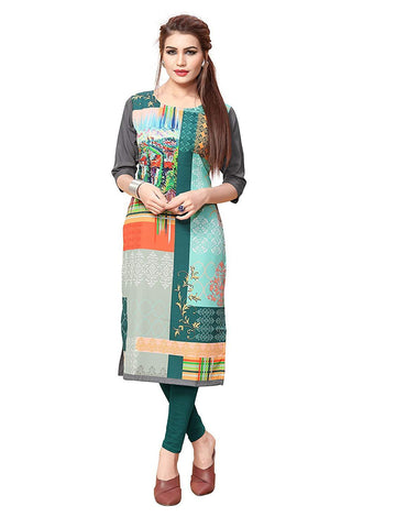 Multi Color Crepe Stitched Kurti  - live-8