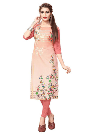 Multi Color Crepe Stitched Kurti  - live-9