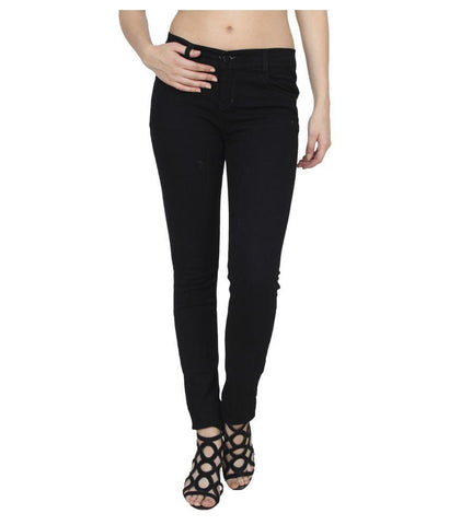 Black Color Denim Womens Jeans - ls-zje-black