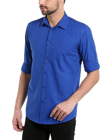 Royal Blue Color Cotton Men Shirt - m-3842shrt-RBlu-2611-4