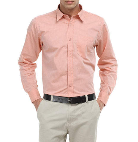 Peach Color Cotton Men Shirt - m-3842shrt-pech-2611-7