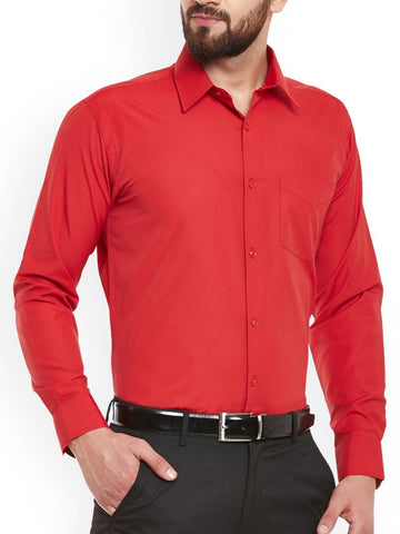 Red Color Cotton Men Shirt - m-3842shrt-red-2611-6