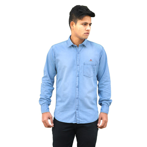 Light Blue Color Denim Men Shirt - m-3842shrtdnm-Lblu