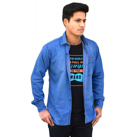 Blue Color Denim Men Shirt - m-3842shrtdnm-blu
