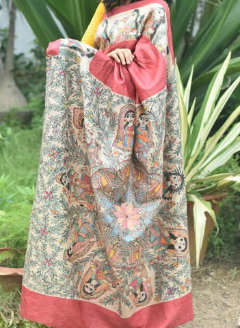 Peach Color Paper Silk Hand Paint Saree - madhubani-15