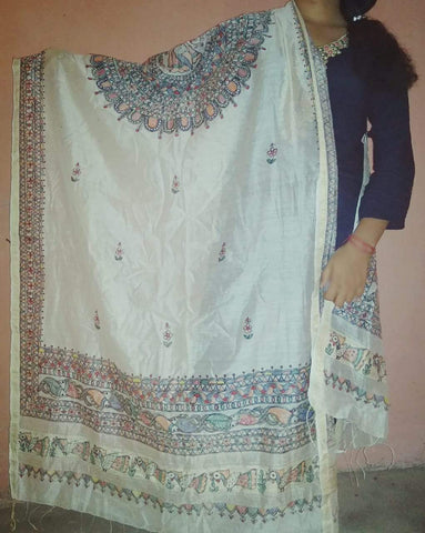 Off White Color Paper Silk Hand Painted Dupatta - madhubani-1