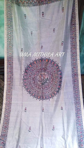 Off White Color Paper Silk Hand Painted Dupatta - madhubani-4