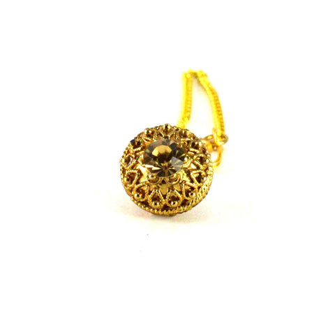 Golden Color Stone Stud-Gold Platted Brass Borla - man202