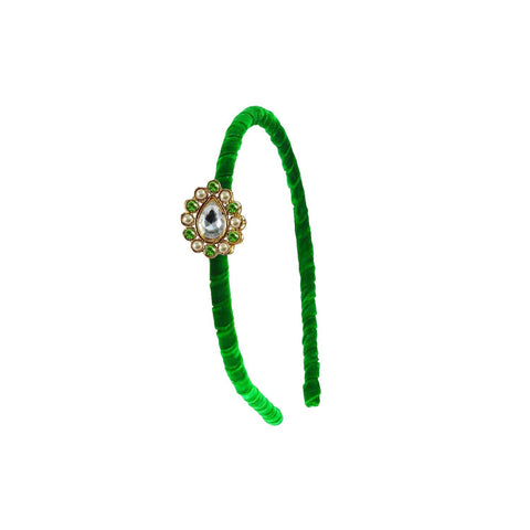 Green Color Stone Stud-Gold Platted Acrylic Hair band - man452
