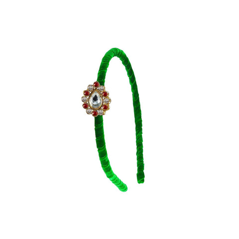 Green Color Stone Stud-Gold Platted Acrylic Hair band - man453