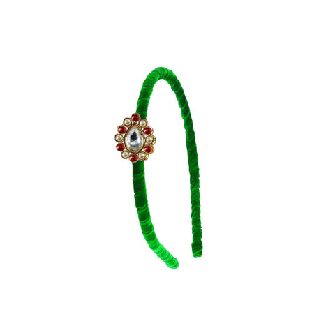 Green Color Stone Stud-Gold Platted Acrylic Hair band - man454