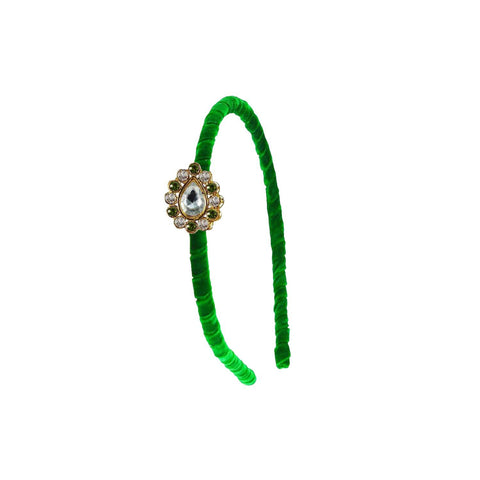 Green Color Stone Stud-Gold Platted Acrylic Hair band - man455