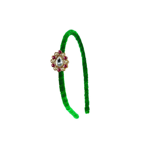 Green Color Stone Stud-Gold Platted Acrylic Hair band - man458