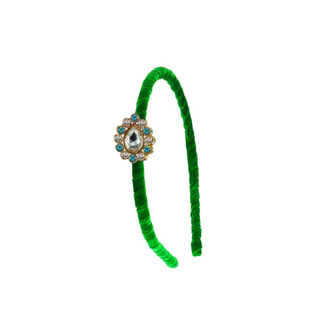 Green Color Stone Stud-Gold Platted Acrylic Hair band - man461