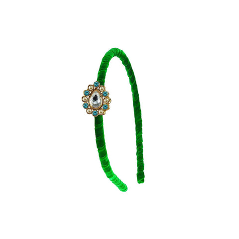 Green Color Stone Stud-Gold Platted Acrylic Hair band - man462