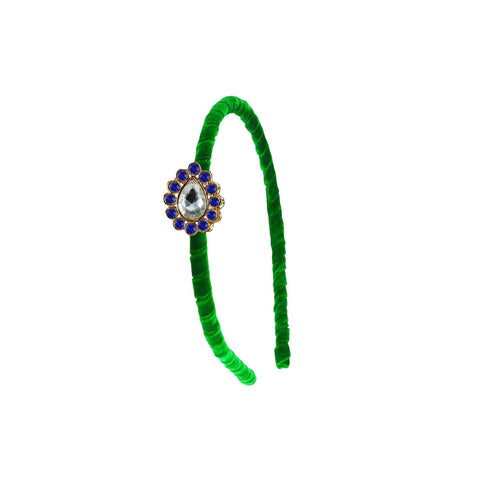 Green Color Stone Stud-Gold Platted Acrylic Hair band - man464