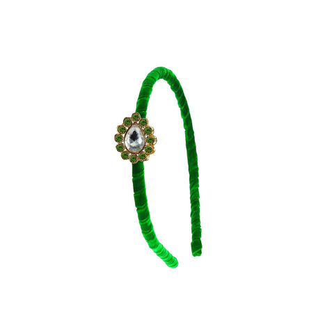 Green Color Stone Stud-Gold Platted Acrylic Hair band - man465