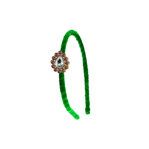 Green Color Stone Stud-Gold Platted Acrylic Hair band - man466