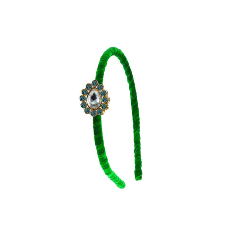 Green Color Stone Stud-Gold Platted Acrylic Hair band - man469