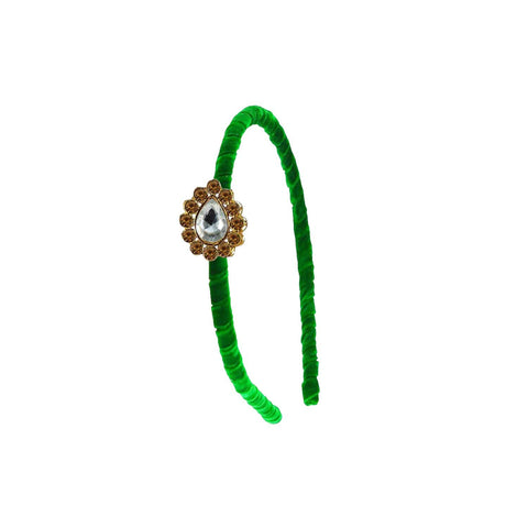 Green Color Stone Stud-Gold Platted Acrylic Hair band - man470