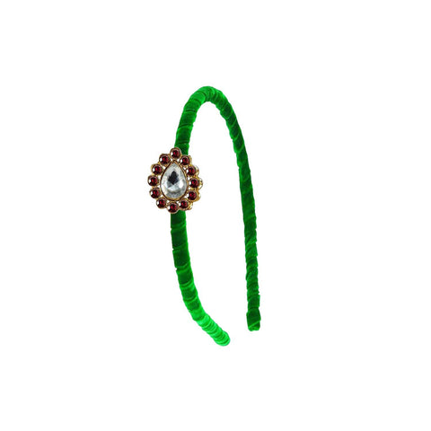 Green Color Stone Stud-Gold Platted Acrylic Hair band - man472