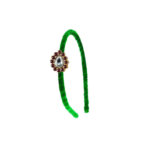 Green Color Stone Stud-Gold Platted Acrylic Hair band - man473