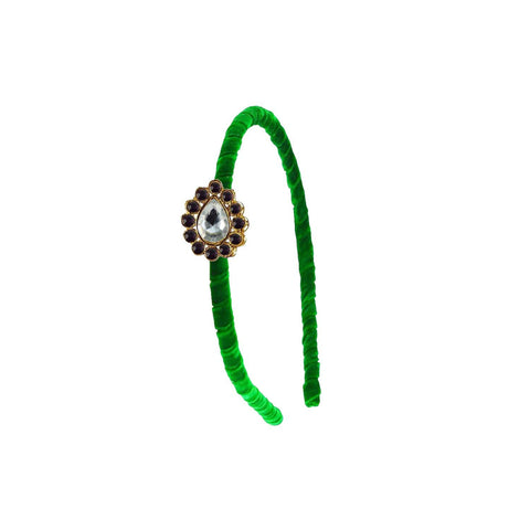 Green Color Stone Stud-Gold Platted Acrylic Hair band - man474