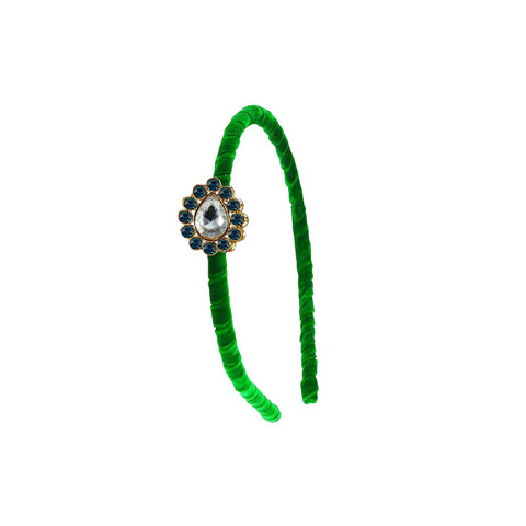 Green Color Stone Stud-Gold Platted Acrylic Hair band - man476