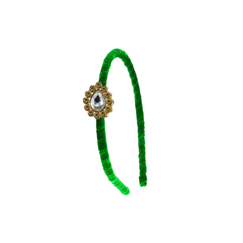Green Color Stone Stud-Gold Platted Acrylic Hair band - man477