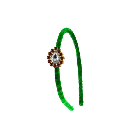 Green Color Stone Stud-Gold Platted Acrylic Hair band - man478