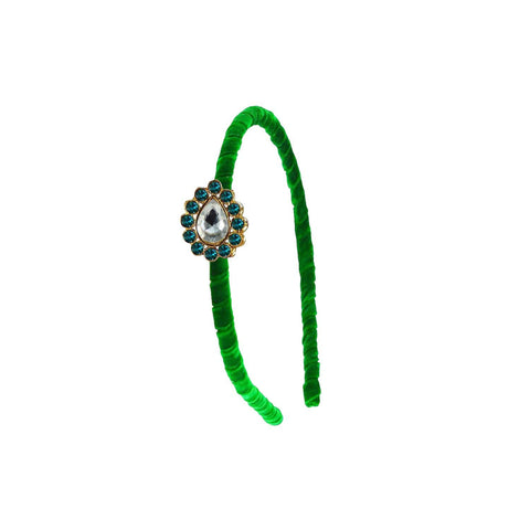 Green Color Stone Stud-Gold Platted Acrylic Hair band - man479