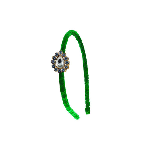 Green Color Stone Stud-Gold Platted Acrylic Hair band - man481