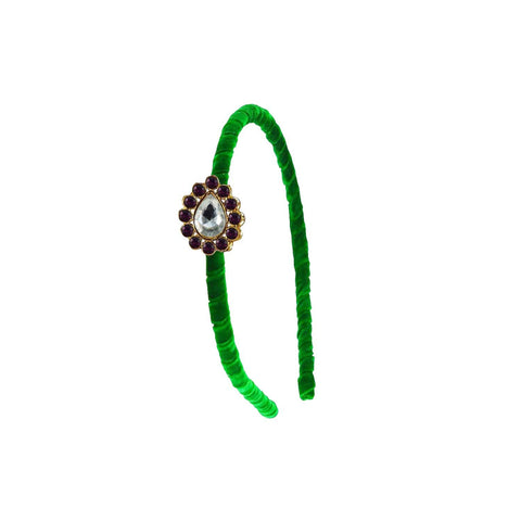Green Color Stone Stud-Gold Platted Acrylic Hair band - man482