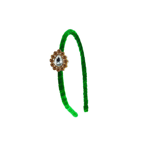 Green Color Stone Stud-Gold Platted Acrylic Hair band - man483