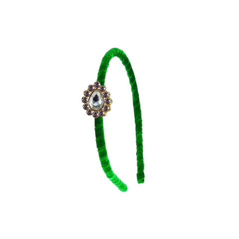 Green Color Stone Stud-Gold Platted Acrylic Hair band - man484